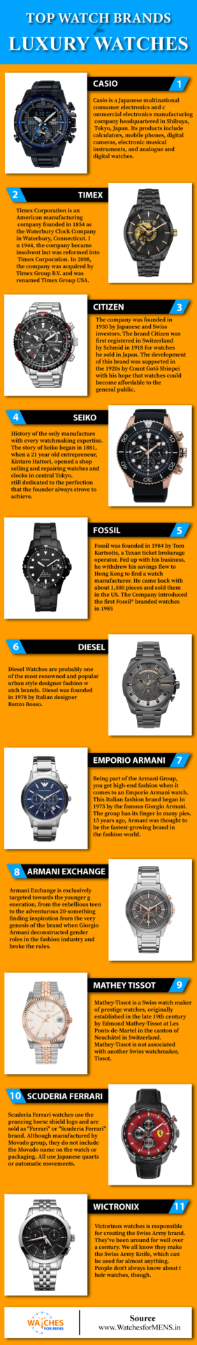 Infographic For Top 10 World Best Luxury Watch Brands in India